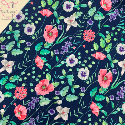John Louden Organic Cotton, Navy Floral Digital Printed Cotton Elastane Jersey Fabric, Dressmaking