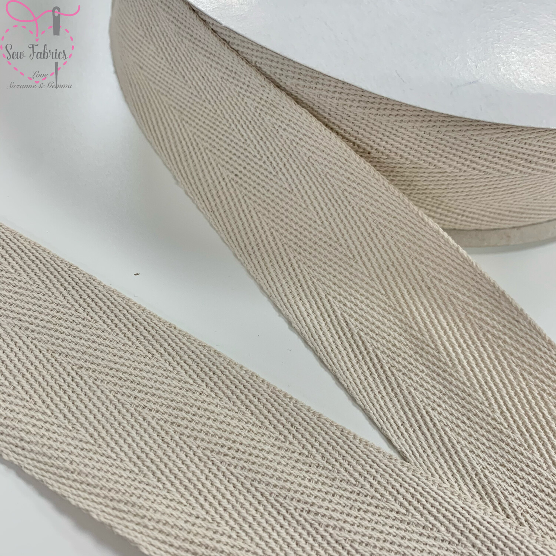 5mts x Bertie's Bows Light Natural 40mm Cotton Herringbone Webbing Tape