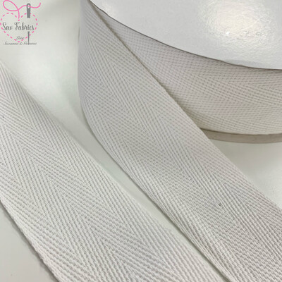5mts x Bertie's Bows White 40mm Cotton Herringbone Webbing Tape