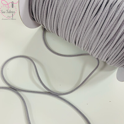 Bertie's Bows 137m / 150yd Reel of 3mm Grey Soft Round Elastic, Ideal For Face Masks