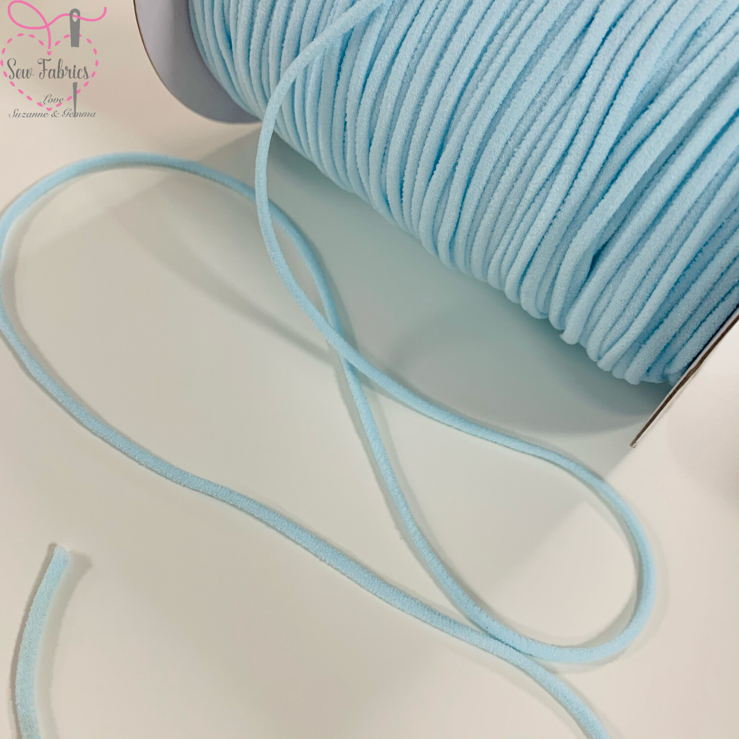 Bertie's Bows 137m / 150yd Reel of 3mm Light Blue Soft Round Elastic, Ideal For Face Masks