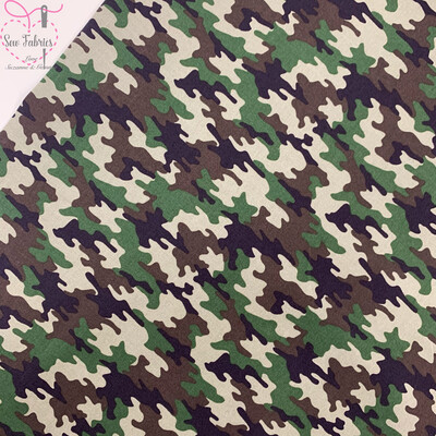 Khaki Green Camouflage Print 100% Cotton Poplin Fabric 60