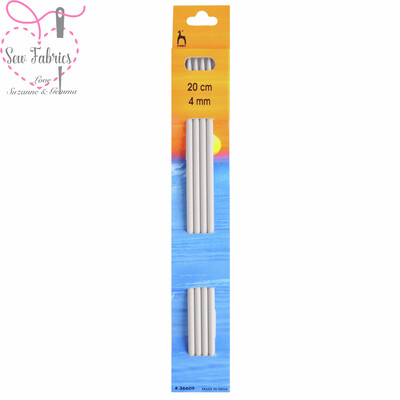 Set of 4 Pony Double Ended 20cm Knitting Needles / Pins in Size 4mm.