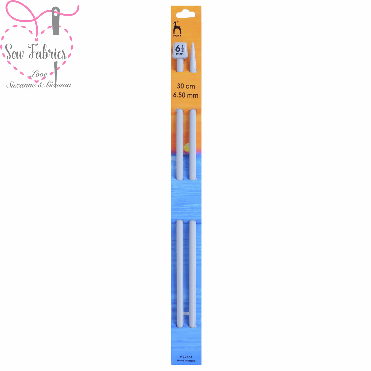 Pony Single Ended 30cm Classic Grey Knitting Needles / Pins in Size 6.5mm. Smooth Light Knitting Needles.