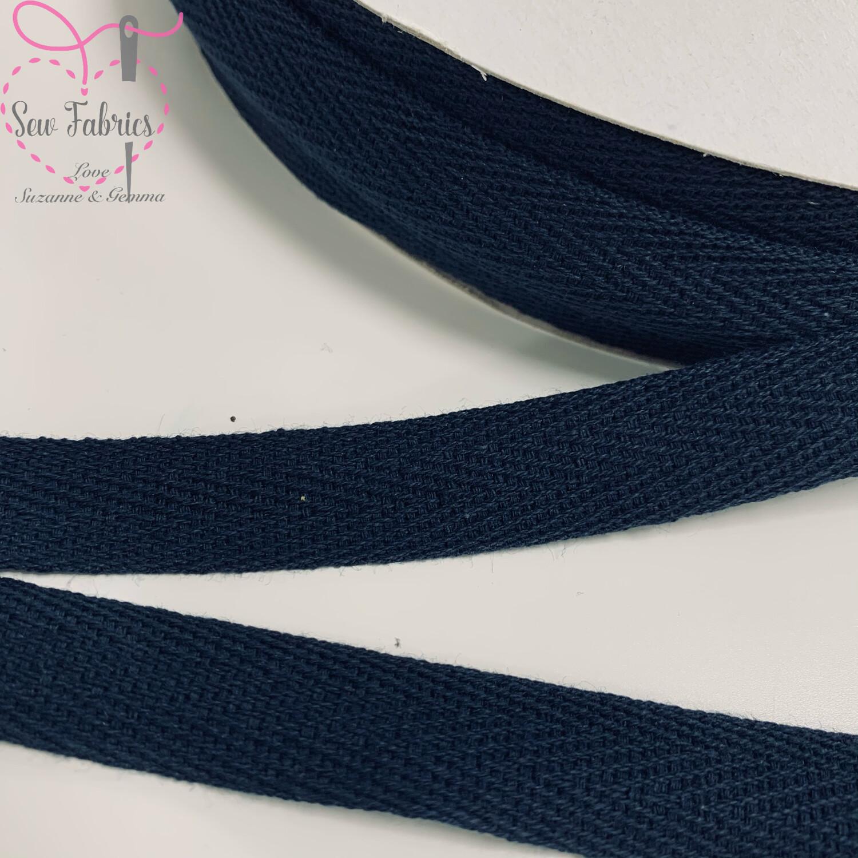 10mts x Bertie's Bows Navy Blue 15mm Cotton Herringbone Webbing Tape