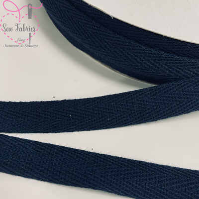 10mts x Bertie's Bows Navy Blue 15mm Cotton Herringbone Webbing Tape