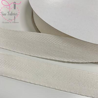 5mts x Bertie's Bows Ivory 25mm Cotton Herringbone Webbing Tape