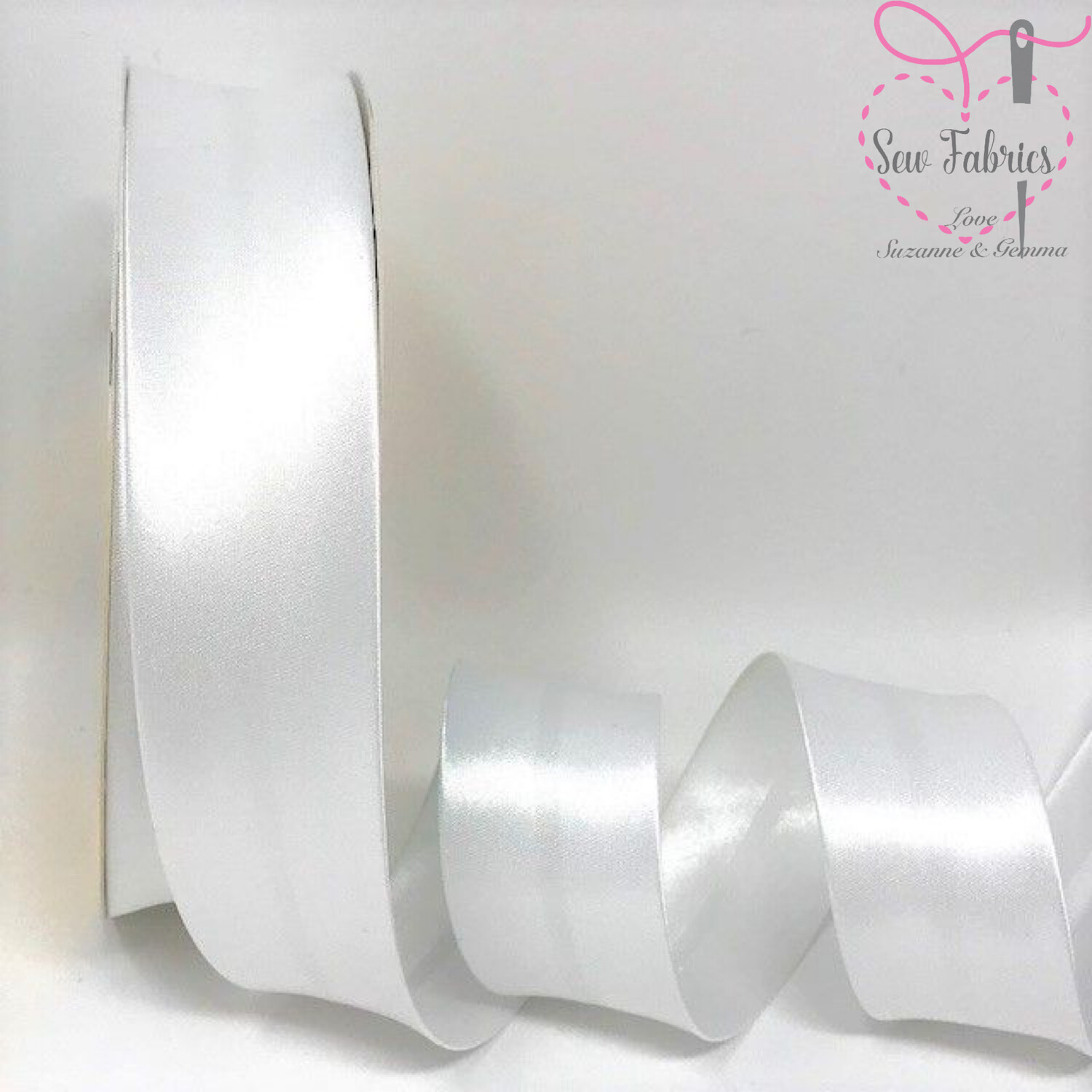 25 metres reel of White 002 Plain Satin Bias Binding 30mm