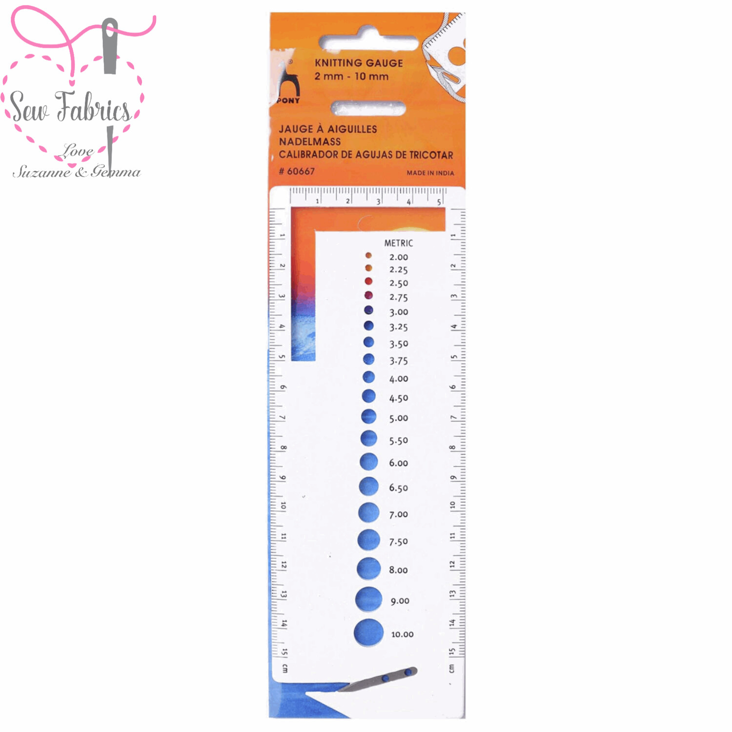 Pony Knitting Gauge - Small, measure knitting pins/needles from 2mm to 10mm, ruler measures in cm and inches.