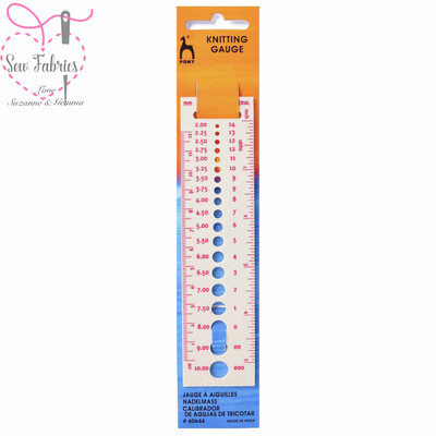Pony Knitting Gauge, Measure Knitting Needle Sizes in both cm and inches
