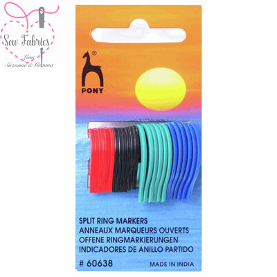 Pack of Pony Assorted Split Ring, Flat Ring Stitch Markers - Small, Medium and Large from 5mm to 10mm long knitting needles.