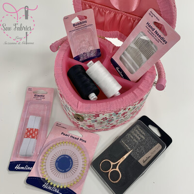 Heart Shaped Sewing Box including Hemline Sewing Basics Accessories - Ideal Christmas Gift