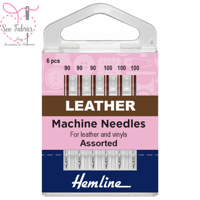 Hemline Leather Sewing Machine Needles, Pack of 6 Regular Assorted Needles