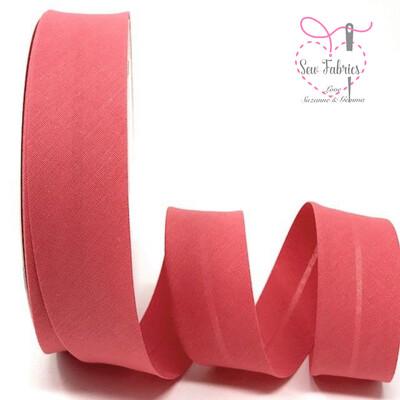 25 metres reel of Rose Pink Plain Polycotton Bias Binding 30mm