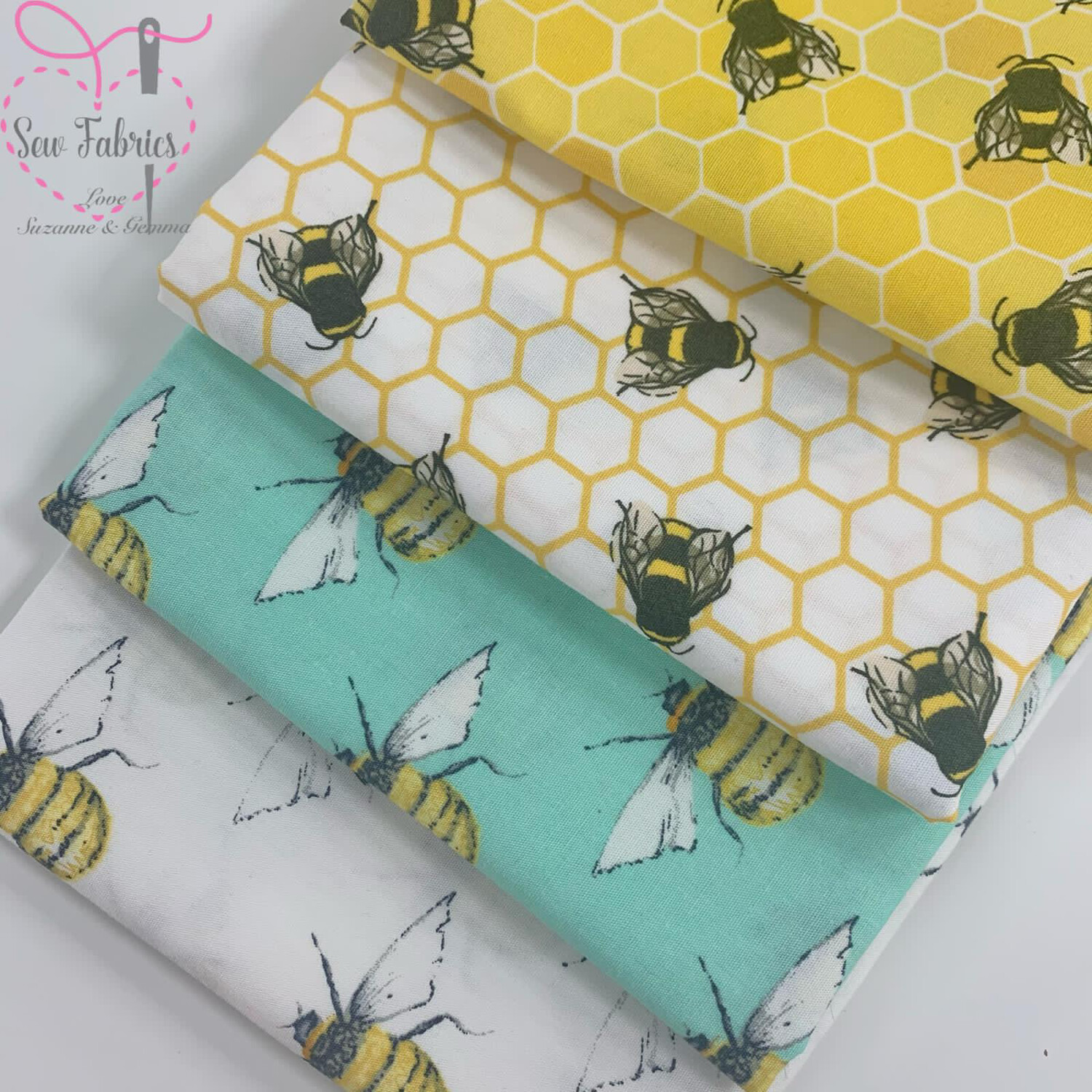 100% Cotton Poplin Fabric Bees Design 4 x Fat Quarter Bundle, Spring Summer Quilting, Crafting, Novelty Bee