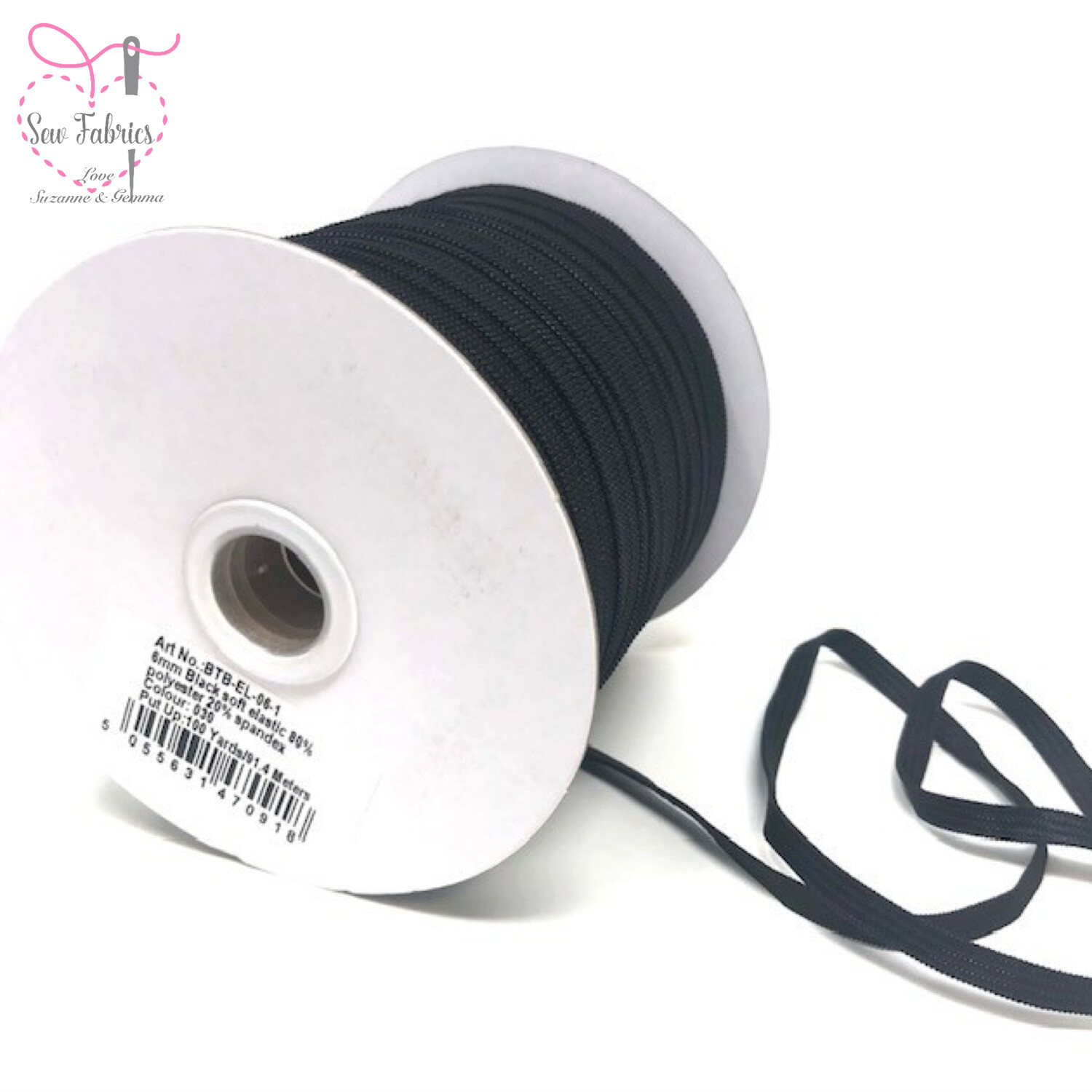 Bertie's Bows 100yd Reel of 6mm Black Soft Elastic, Ideal For Face Masks