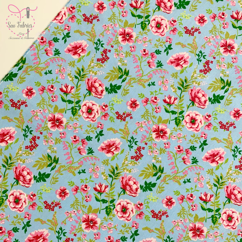 """John Louden Blue Sweet Flowers Fabric 100% Cotton, 60""""/150cm Width"""