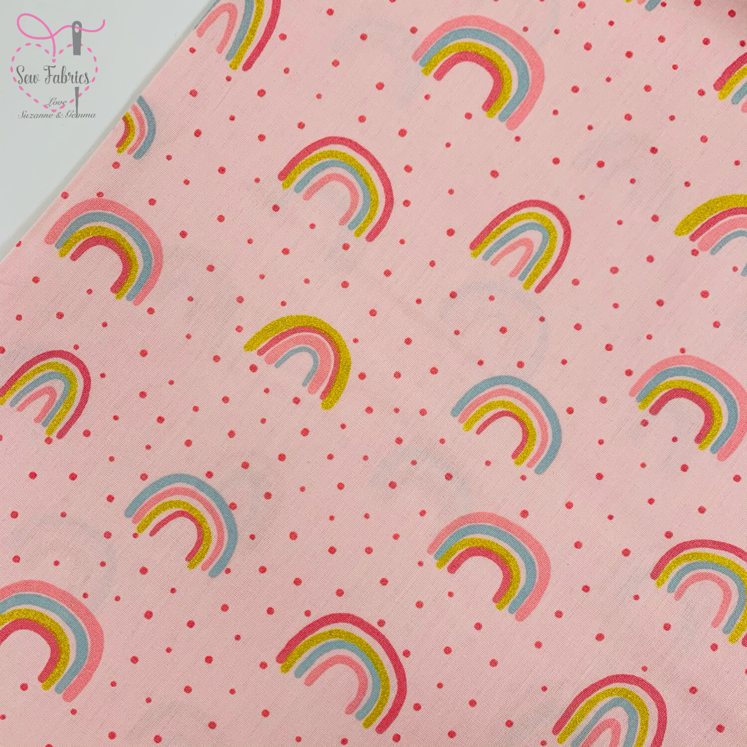 "John Louden Rose Pink Rainbow Glitter Fabric 100% Cotton with Glitter, 60""/150cm Width"