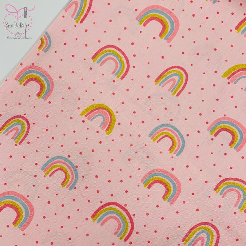 John Louden Rose Pink Rainbow Glitter Fabric 100% Cotton with Glitter, 60