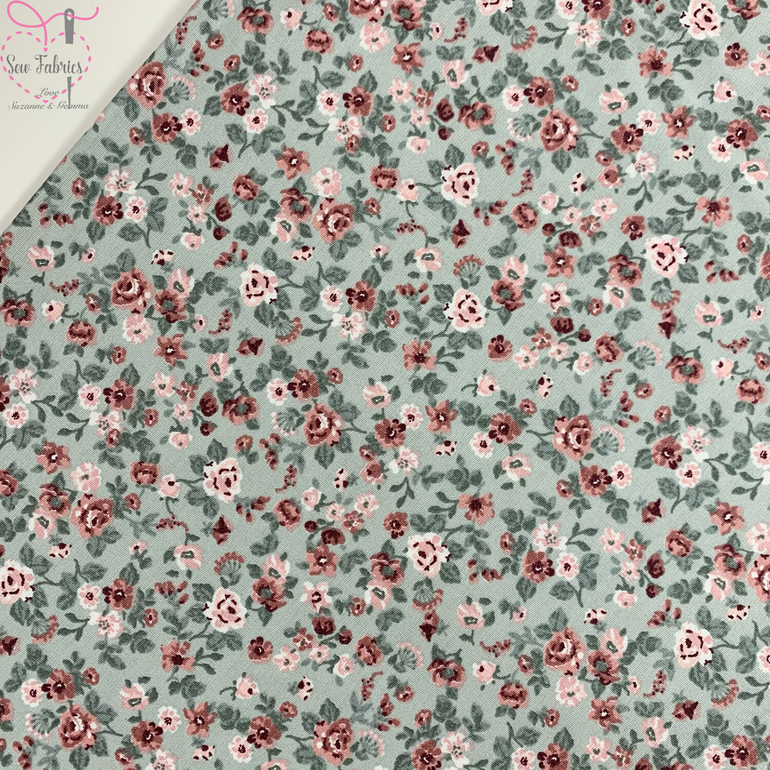 "John Louden Mint Green Romantic Flowers Fabric 100% Cotton, 60""/150cm Width"