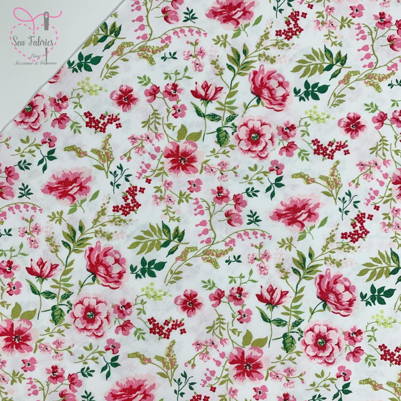 """John Louden White Sweet Flowers Fabric 100% Cotton, 60""""/150cm Width"""