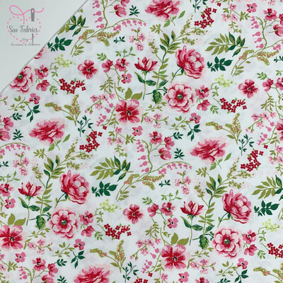 John Louden White Sweet Flowers Fabric 100% Cotton, 60