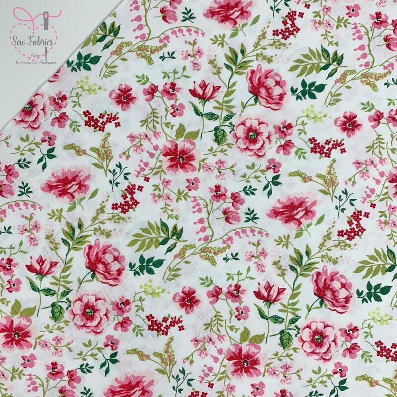 John Louden White Sweet Flowers Fabric 100% Cotton, 60