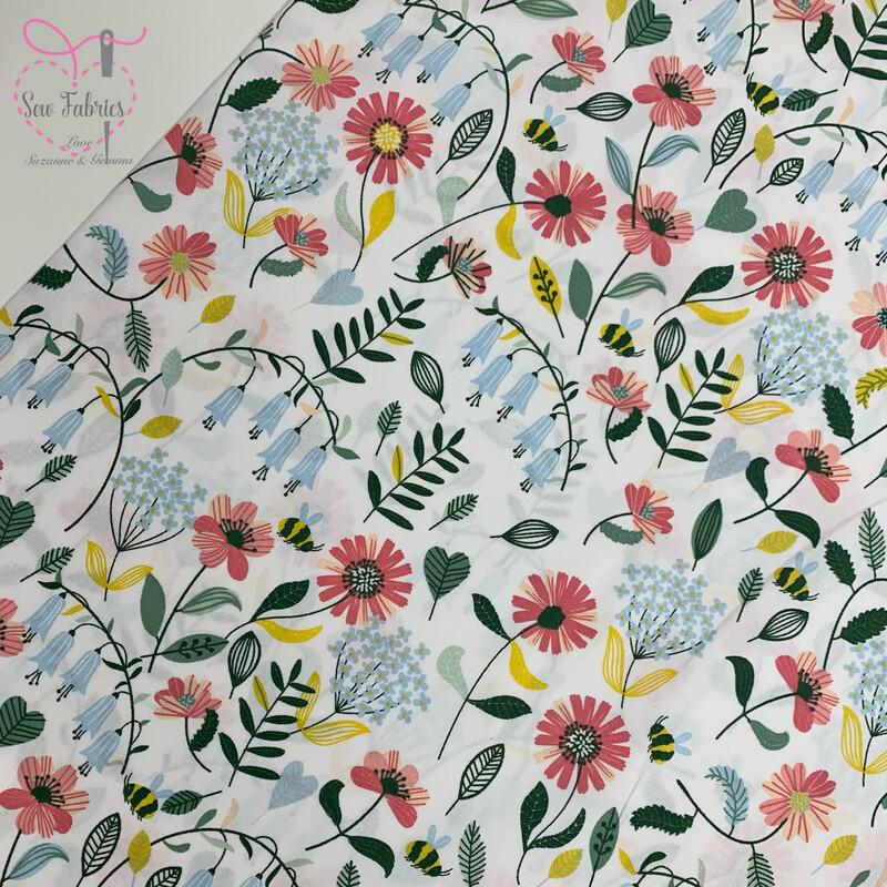 John Louden White Bluebell Flowers Fabric 100% Cotton, 60