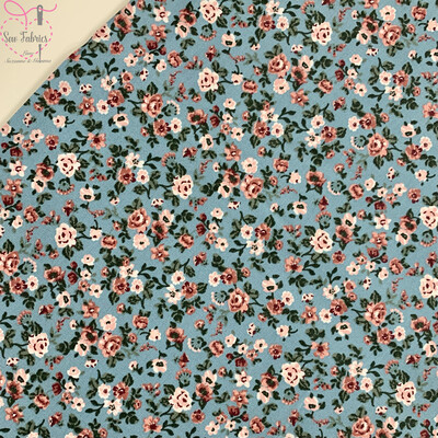 John Louden Aqua Blue Romantic Flowers Fabric 100% Cotton, 60