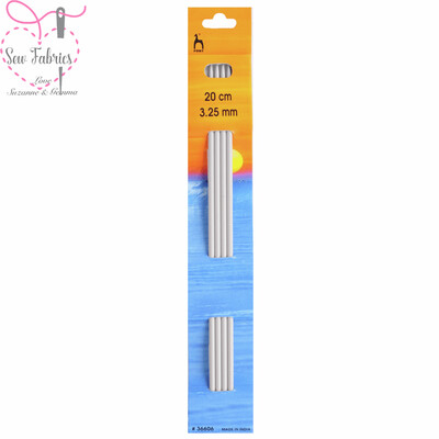 Set of 4 Pony Double Ended 20cm Knitting Needles / Pins in Size 3.25mm.