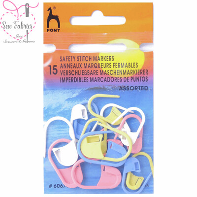 Pony Assorted Safety Stitch Markers - 15 Pack