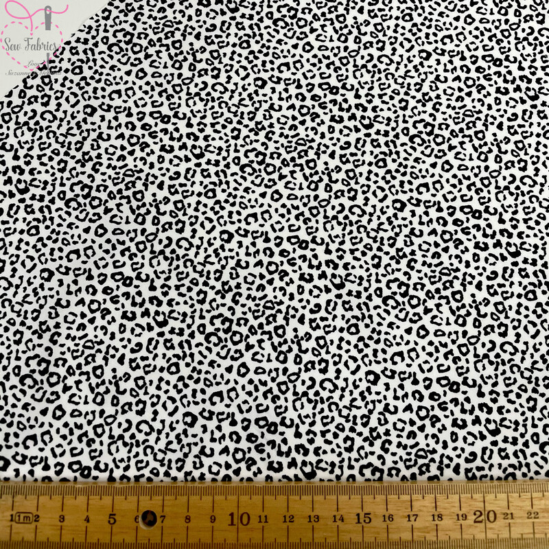 Rose & Hubble White Leopard Print 100% Cotton Poplin Fabric, Animal Print Material