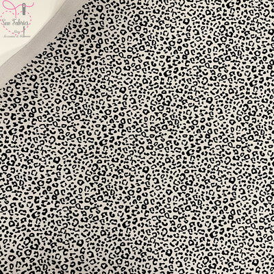 Rose & Hubble Grey Leopard Print 100% Cotton Poplin Fabric, Animal Print Material
