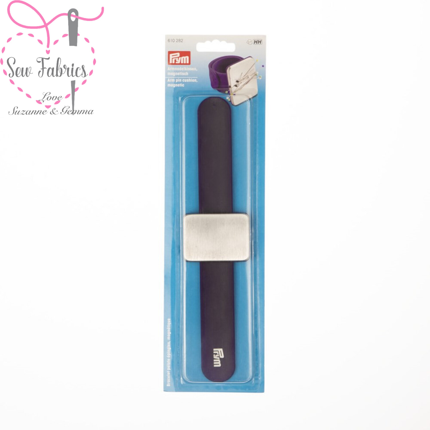 Prym Arm Pin Cushion Silicone Wristband Magnetic Face, Sewing, Dressmaking, Quilting Accessory in Dark Violet