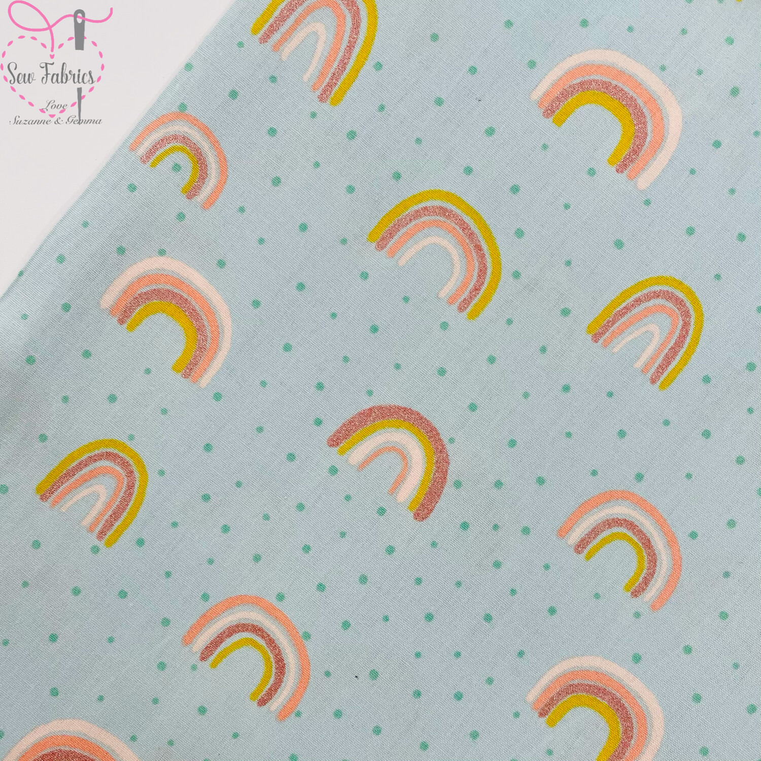 "John Louden Mint Green Rainbow Glitter Fabric 100% Cotton with Glitter, 60""/150cm Width"
