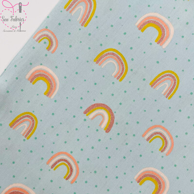 John Louden Mint Green Rainbow Glitter Fabric 100% Cotton with Glitter, 60