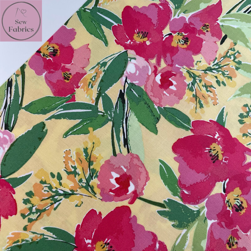 Riley Blake Glohaven Collection, Yellow Floral Flowers, 100% Cotton Fabric, Dressmaking, Quilting, Home Soft Furnishings Floral Material