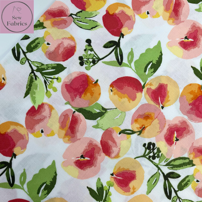 Riley Blake Glohaven Collection, White Peach Floral Flowers, 100% Cotton Fabric, Dressmaking, Quilting, Home Soft Furnishings Floral Peaches Material