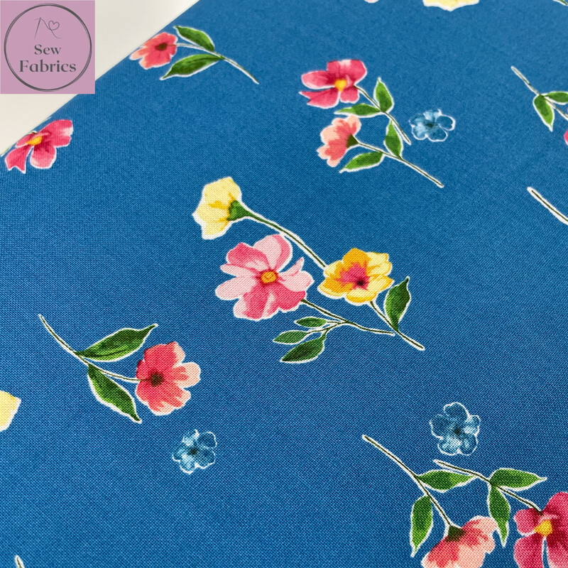 Riley Blake Glohaven Collection, Blue Floral Flowers, 100% Cotton Fabric, Dressmaking, Quilting, Home Soft Furnishings Floral Material
