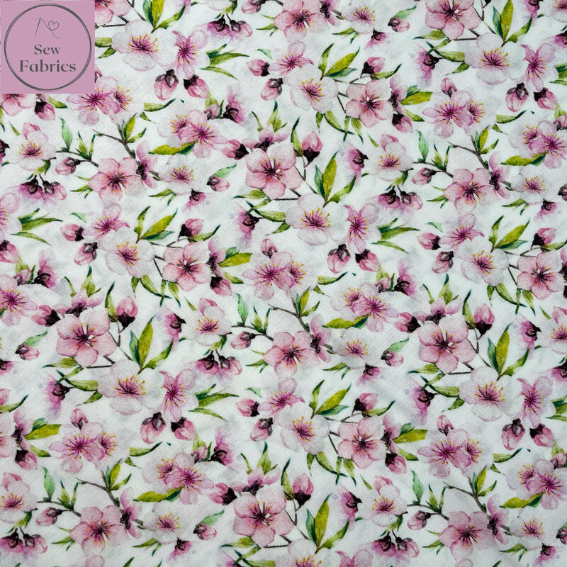 John Louden Pink Blossom Fabric 100% Cotton 60