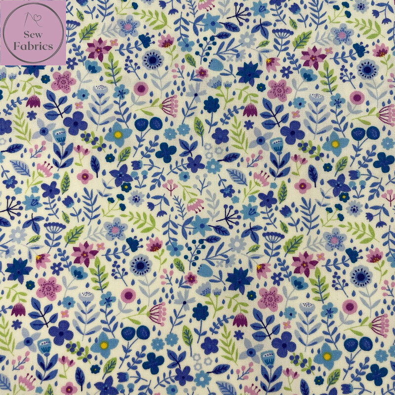 Rose and Hubble Blue Summer Fun Floral Fabric Ditsy Flower Print, 100% Cotton Poplin, Flower Material Sewing