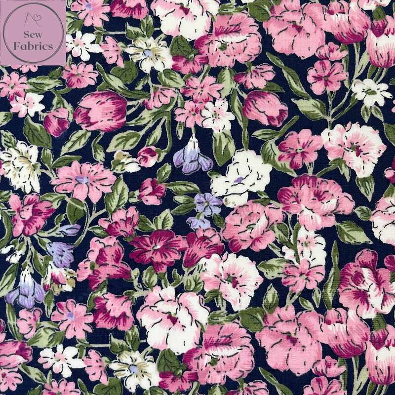 Rose and Hubble Painted Navy Floral Fabric Large Flower Print, 100% Cotton Poplin, Flower Material Sewing
