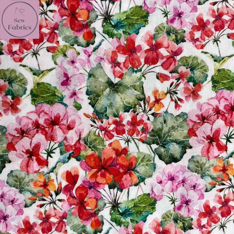 John Louden Hydrangea Floral Fabric 100% Cotton 60