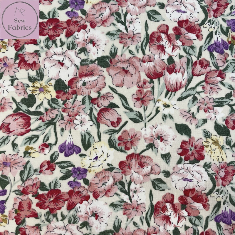 Rose and Hubble Painted Ivory Floral Fabric Large Flower Print, 100% Cotton Poplin, Flower Material Sewing