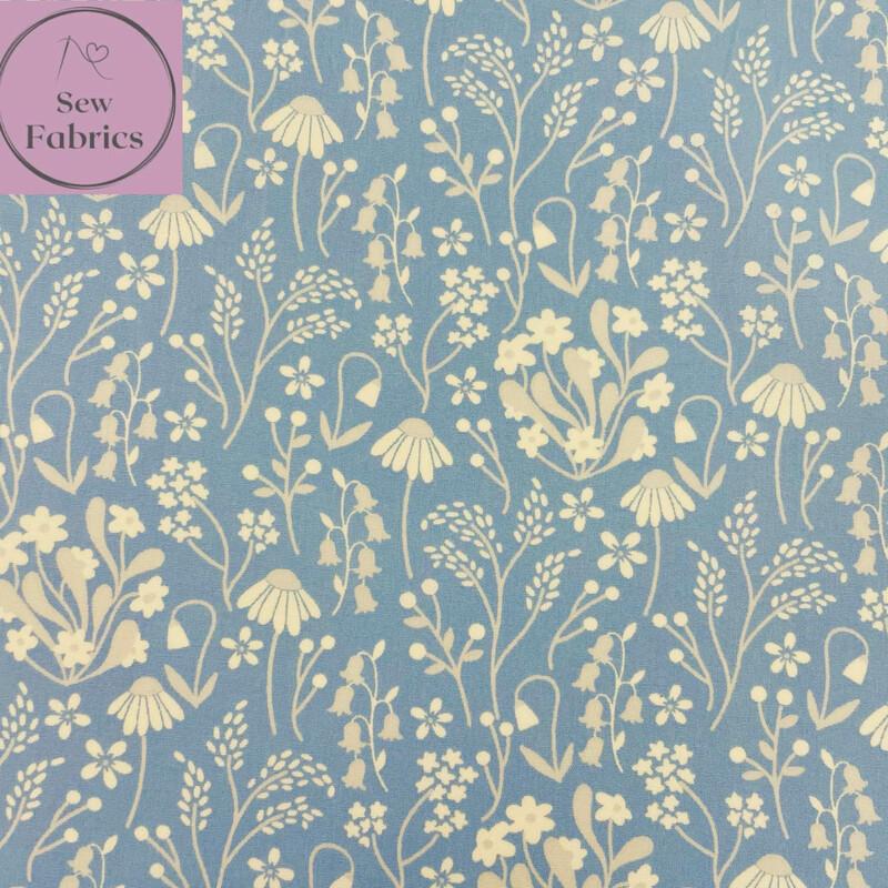 Rose & Hubble Blue Wildflower Floral Fabric 100% Cotton Poplin