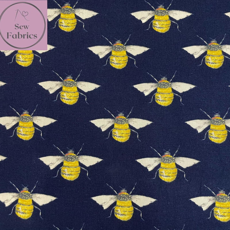 Rose and Hubble Navy Bee Print Fabric 100% Cotton Poplin