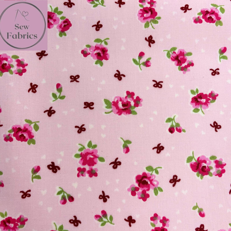 Rose & Hubble Pink Ditsy Roses Floral Fabric 100% Cotton Poplin Flower Material