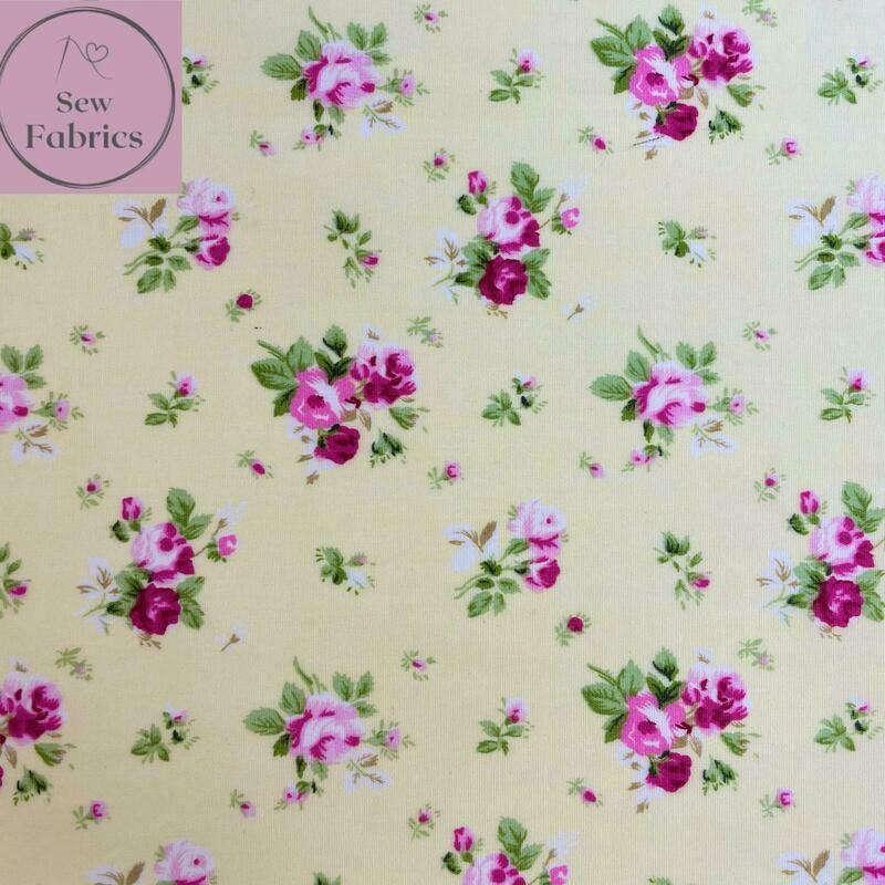 Rose & Hubble Lemon Dainty Bouquet Floral Fabric 100% Cotton Poplin