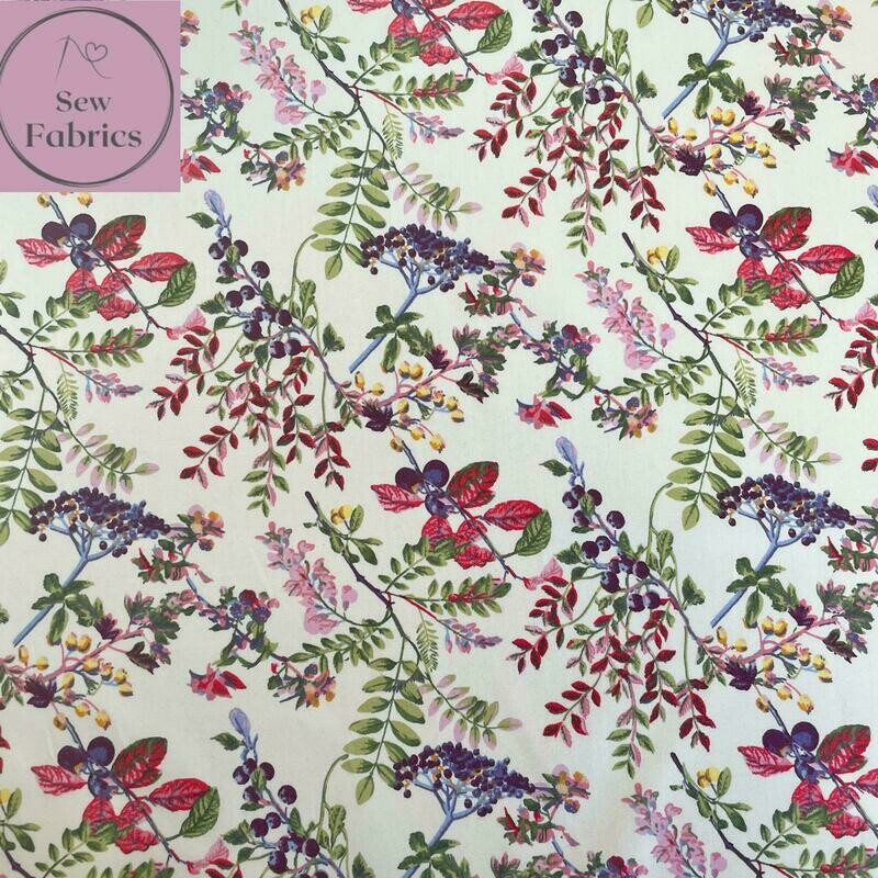 Rose & Hubble Ivory Country Garden 100% Cotton Poplin Floral Fabric