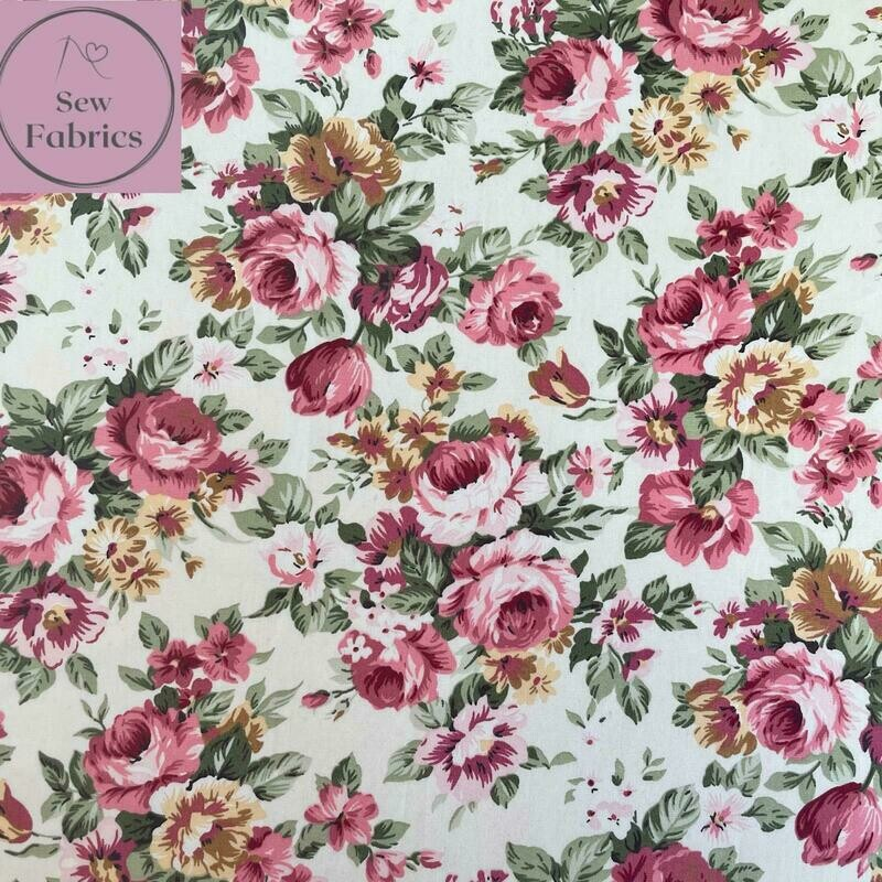 Rose & Hubble Pink Large Peony Print 100% Cotton Poplin Floral Fabric